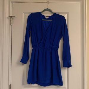 Parker faux wrap silk long sleeve dress
